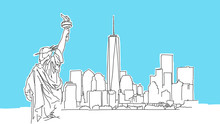 New York Big Apple Lineart Vec...