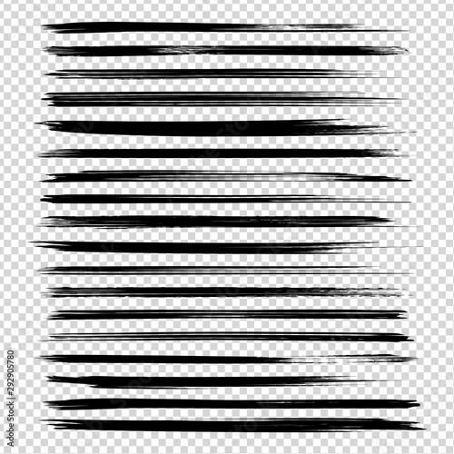 Black textured thin long ink brushstrokes set isolated on imitation transparent background