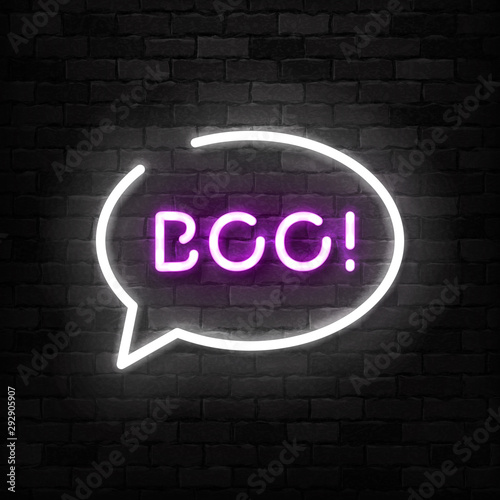 Valokuvatapetti Vector realistic isolated neon sign of Boo logo for template decoration and invitation covering on the wall background