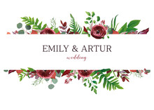 Wedding Invite, Invitation, Save The Date Card. Vector Floral Bouquet Frame Design: Red Garden Anemone Flower, Seeded Burgundy & Silver Eucalyptus Branches, Green Fern Leaves. Perfect Elegant Template