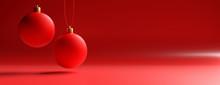 Xmas Balls Against Red Color C...
