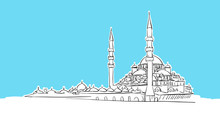 Yeni Cami, Istanbul  Lineart Vector Sketch
