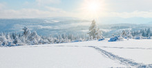 Stunning Panorama Of Snowy Landscape In Winter In Black Forest - Winter Wonderland