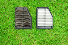 Dirty And New Car Cabin Air Filter Comparison