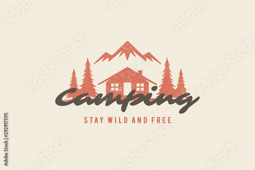 Obraz Saying quote typography with hand drawn camping cabin symbol and mountains for greeting cards and posters - fototapety do salonu