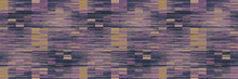 Spliced Stripe Geometric Variegated Border Background. Seamless Pattern With Woven Dye Broken Stripe. Bright Gradient Shape Blend Ribbon Trim. Trendy Digital Disrupted Glitch. Purple Line