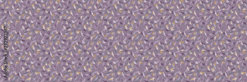 Foto auf AluDibond Boho-Stil Folkloric tossed leaf border background. Seamless pattern with horizontal decorative folk leaves. Hand drawn lilac winter purple edging. Boho decorative textile ribbon trim background