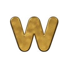 Golden Foiled Letter W - Lower-case 3d Precious Font - Suitable For Business, Luxury Or Fortune Related Subjects
