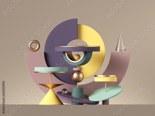 3d abstract postmodern design with assorted geometrical shapes isolated on neutral background Canvas Print