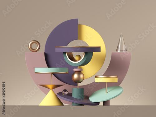 3d postmodernistyczny abstrakcjonistyczny projekt z różnorodnymi geometrycznymi kształtami odizolowywającymi na neutralnym tle. Kolorowe prymitywne: torusowy cylinder cylindryczny, pusty cokół lub podium. Zabawki dla konstruktorów.