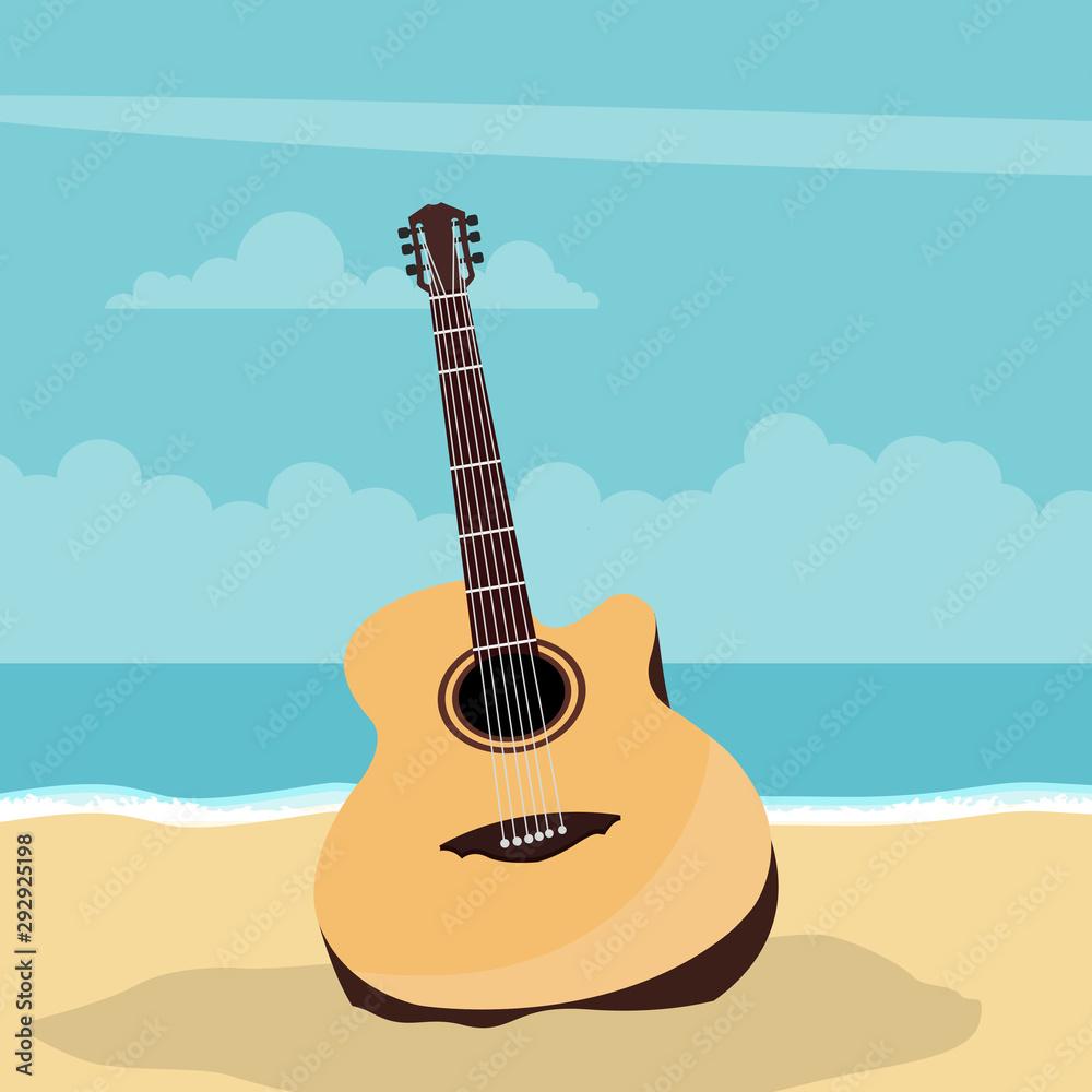 Gitara akustyczna projekt z plażowym tłem w lecie <span>plik: #292925198 | autor: Ipajoel</span>