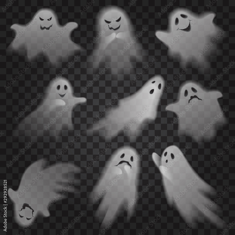 Fototapeta Cute scary ghosts phantoms on transparent alpha background set. Halloween characters vector illustration