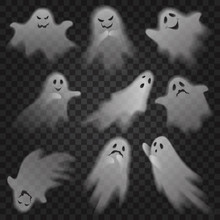 Cute Scary Ghosts Phantoms On Transparent Alpha Background Set. Halloween Characters Vector Illustration