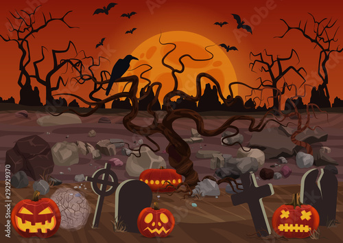Spooky Graveyard Flat Vector Background Creepy Halloween Wallpaper With Tombstones And Pumpkins Helloween Gothic Backdrop Mystery Cemetery With Raven On Tree And Full Moon Cartoon Illustration Buy This Stock Vector And