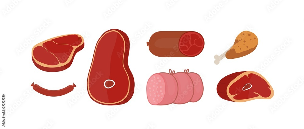 Fototapeta Raw meat products flat vector illustrations set. Butchery shop fresh assortment. Pork slice and beef steak isolated cliparts pack on white background. Sausage, chicken leg design elements collection.