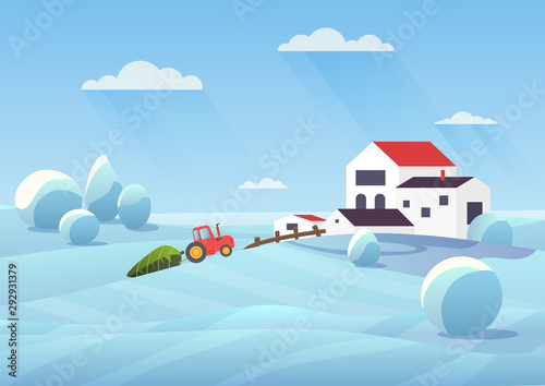 Snowy winter landscape flat vector illustration. Countryside house and snow fields. Tractor transporting fir tree to townhouse. Xmas modern home building. Christmas cottage cartoon composition