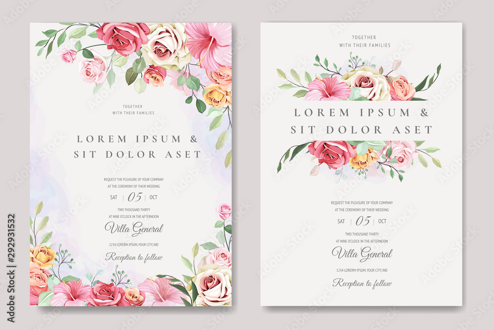 Fototapeta elegant wedding card with beautiful floral and leaves template