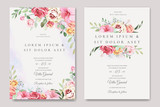Fototapeta Kwiaty - elegant wedding card with beautiful floral and leaves template