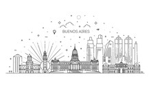 Buenos Aires Skyline, Argentina. Trendy Vector Illustration, Linear Style