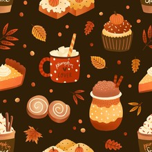Autumn Season Dessert And Drink Flat Vector Seamless Pattern. Pumpkin Spice Latte And Cupcakes Background, Backdrop. Cappuccino, Pie Slice And Leaves Wrapping Paper, Wallpaper, Textile Design.