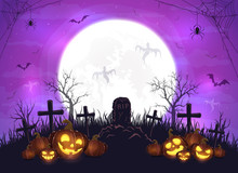 Halloween Pumpkins And Ghosts On Purple Background
