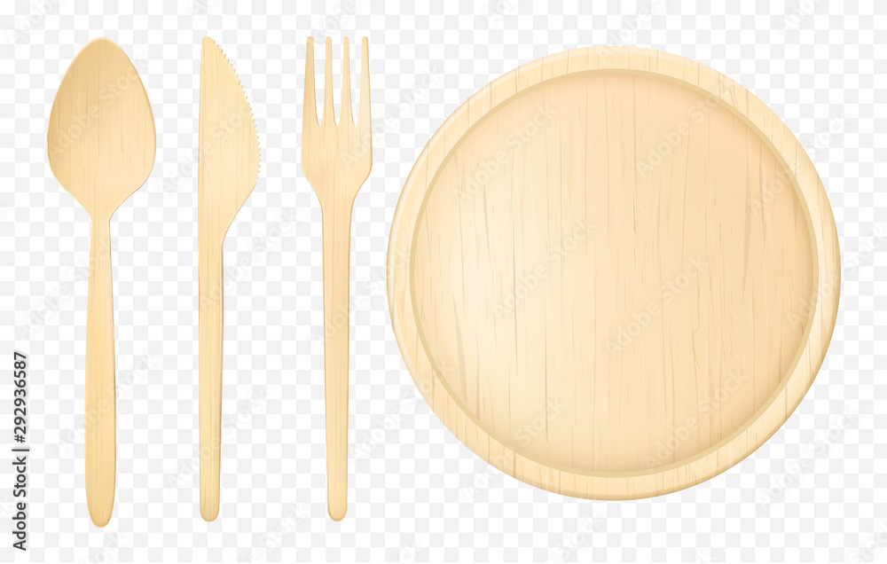 Fototapety, obrazy: Disposable wooden, ecological tableware set with spoon, fork dinner knife and flat plate, platter. Natural kitchenware, utensils top view, 3d realistic vector illustration isolated on white background