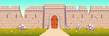 Medieval Castle Broken, Ruined Stone Walls. Citadel After Enemies Attack Or Siege During War. Strong Defence Concept. Ancient Fortress Ruins With Holes In Wall, Closed Gate Cartoon Vector Illustration