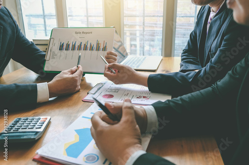Business people meeting together to planning market and business investment Canvas Print
