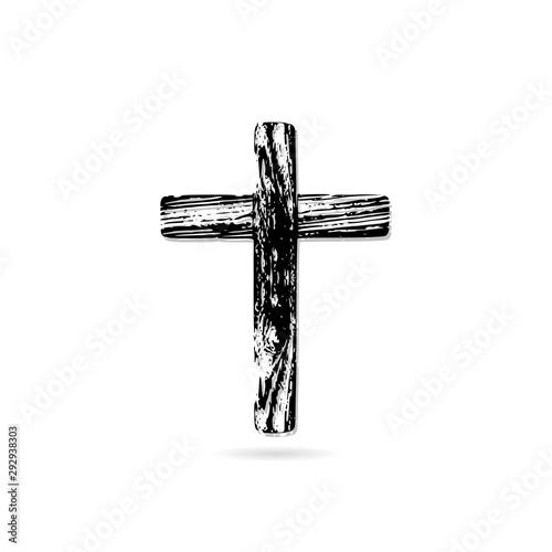 Cuadros en Lienzo Illustration of an wooden cristian cross icon