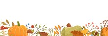 Fall Flat Vector Background. Autumn Decorative Horizontal Illustration With Pumpkins And Place For Text. Dried Leaves Drawing Isolated On White. Fall Season Backdrop With Forest Foliage And Berries.