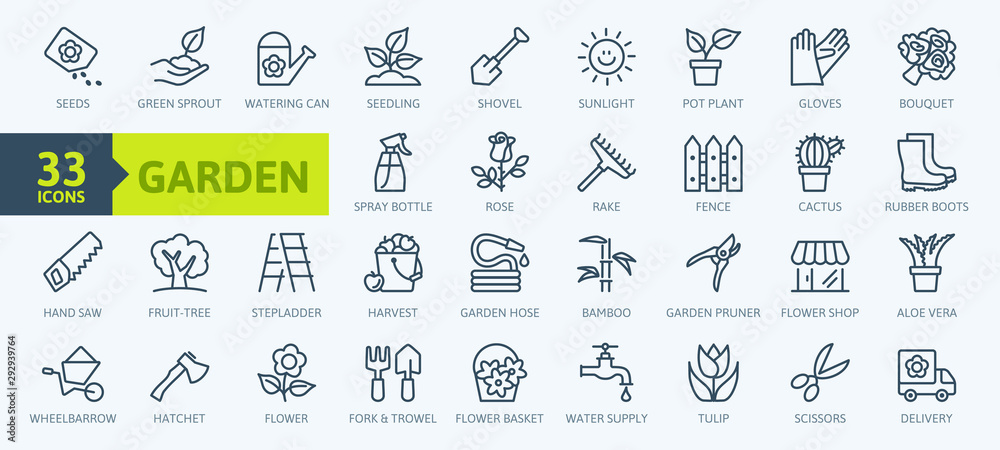 Fototapeta Flower and Gardening elements - minimal thin line web icon set. Outline icons collection. Simple vector illustration.
