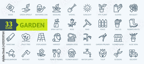 Flower and Gardening elements - minimal thin line web icon set Fototapet