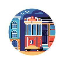 Historic Red Retro Tram Icon In Flat
