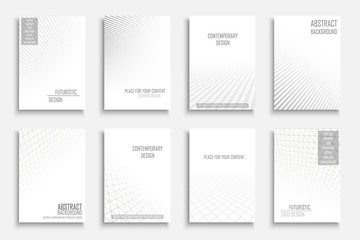 Collection of vector abstract contemporary geometric templates, covers, placards, brochures, banners, flyers, backgrounds. White futuristic creative 3d design with grid and striped vision perspective