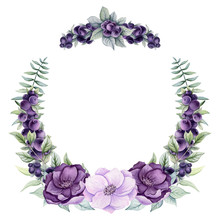 Wreath With Watercolor Purple Berries And Flowers