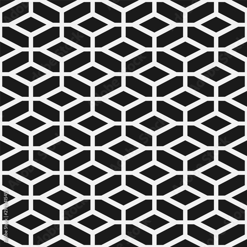 Foto auf Gartenposter Künstlich Vector seamless geometric pattern. Modern grid simple texture. Repeating abstract monochrome background with creative shapes
