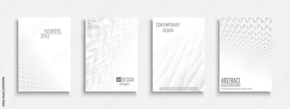 Fototapeta Collection of vector abstract contemporary templates, covers, placards, brochures, banners, flyers, backgrounds. White futuristic 3d design with creative geometric shapes and vision perspective