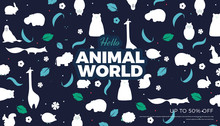 Flat Style Animals Background, Vector Banner Template