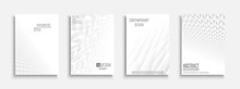 Collection Of Vector Abstract Contemporary Templates, Covers, Placards, Brochures, Banners, Flyers, Backgrounds. White Futuristic 3d Design With Creative Geometric Shapes And Vision Perspective
