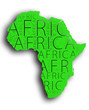 canvas print picture - green africa map with shadow and white background with typography