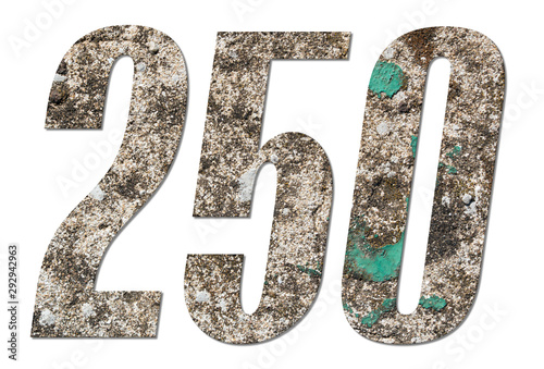 Tela  Number 250 with old concrete wall on white background