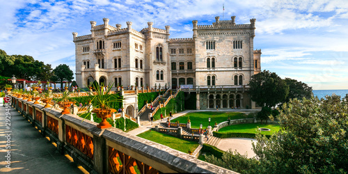 Wonderful white castle over the sea - Miramare. Trieste, northern Italy