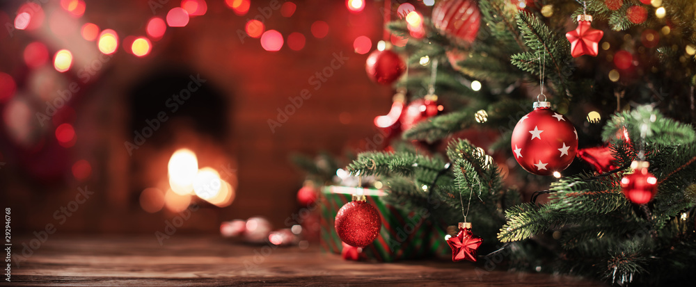 Fototapeta Christmas Tree with Decorations
