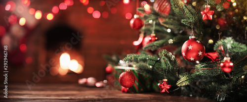 Christmas Tree with Decorations Canvas Print