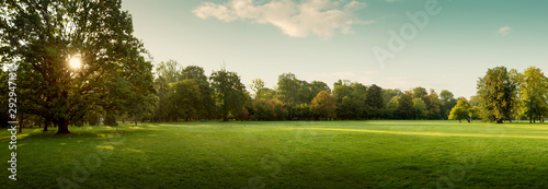 Fototapeta Panorama of autumn city park at sunrise obraz