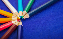 Nine Multicolored Pencils On A...