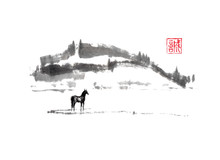 Horse And Distant Hills Japanese Style Original Sumi-e Ink Painting.