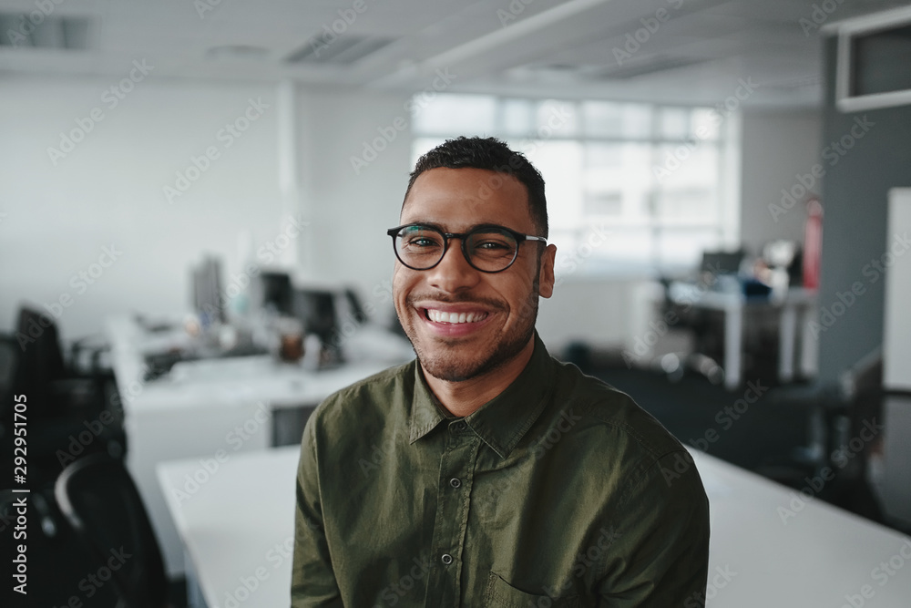 Fototapeta Friendly and smiling young african american professional businessman looking at camera in modern office