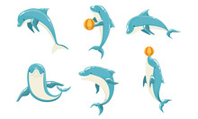 Funny Blue Dolphins Set, Cute ...