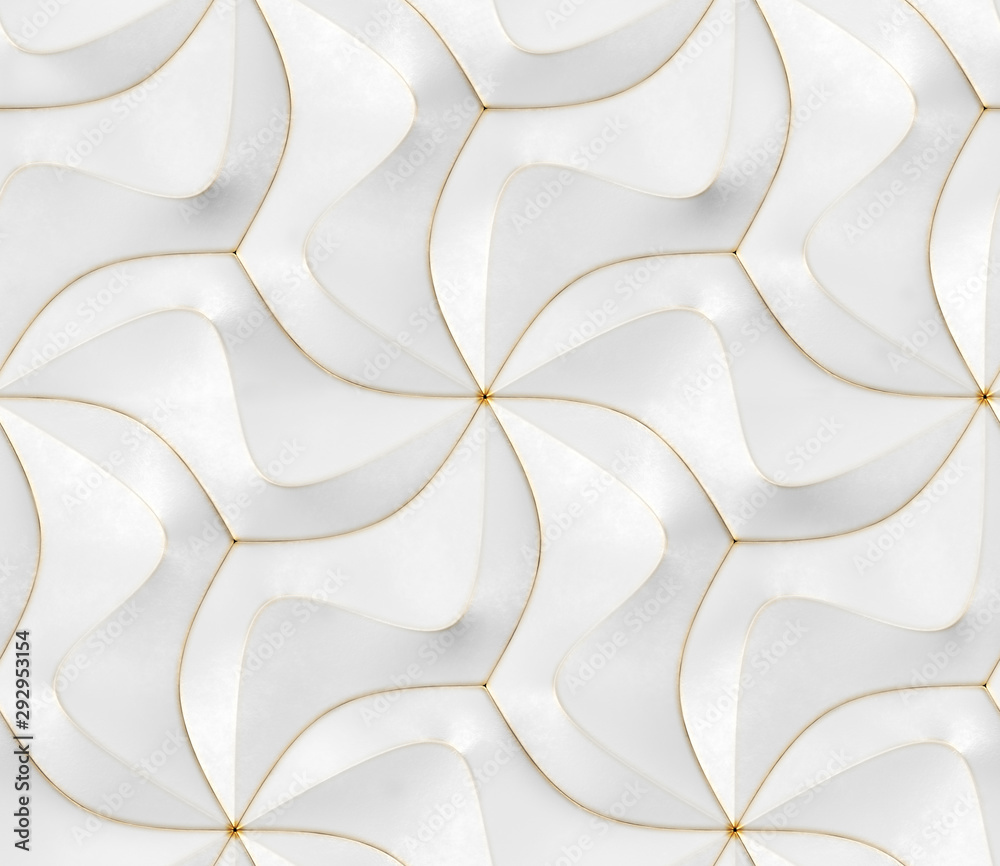 3D Wallpaper of white modern geometric tiles with gold frayed edges. High quality seamless realistic texture.